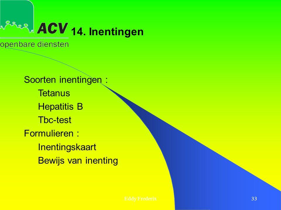 Eddy Frederix33 Soorten inentingen : Tetanus Hepatitis B Tbc-test Formulieren : Inentingskaart Bewijs van inenting 14. Inentingen
