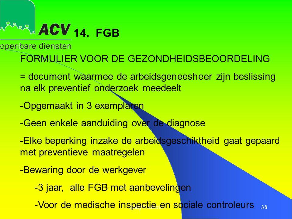 Eddy Frederix38 FORMULIER VOOR DE GEZONDHEIDSBEOORDELING = document waarmee de arbeidsgeneesheer zijn beslissing na elk preventief onderzoek meedeelt