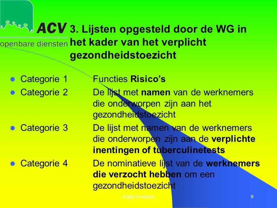 Eddy Frederix9  Categorie 1Functies Risico's  Categorie 2De lijst met namen van de werknemers die onderworpen zijn aan het gezondheidstoezicht  Cat