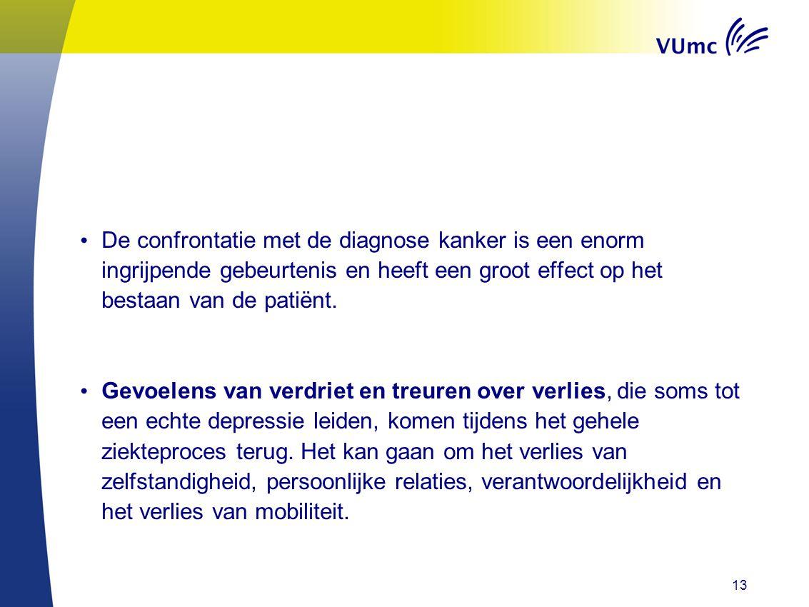 • De confrontatie met de diagnose kanker is een enorm ingrijpende gebeurtenis en heeft een groot effect op het bestaan van de patiënt. • Gevoelens van