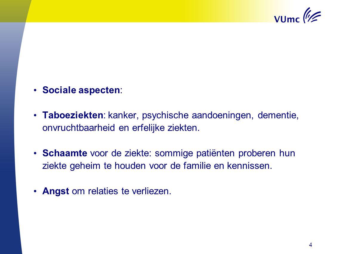• Sociale aspecten: • Taboeziekten: kanker, psychische aandoeningen, dementie, onvruchtbaarheid en erfelijke ziekten. • Schaamte voor de ziekte: sommi