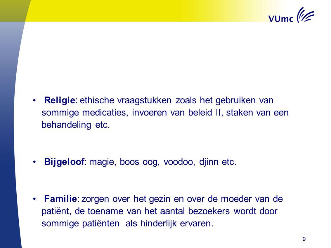 • Religie: ethische vraagstukken zoals het gebruiken van sommige medicaties, invoeren van beleid II, staken van een behandeling etc.