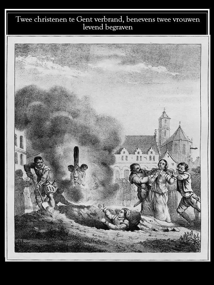 Pieter van Russeau de tong uitgesneden, op een ladder gebonden en in het vuur geworpen