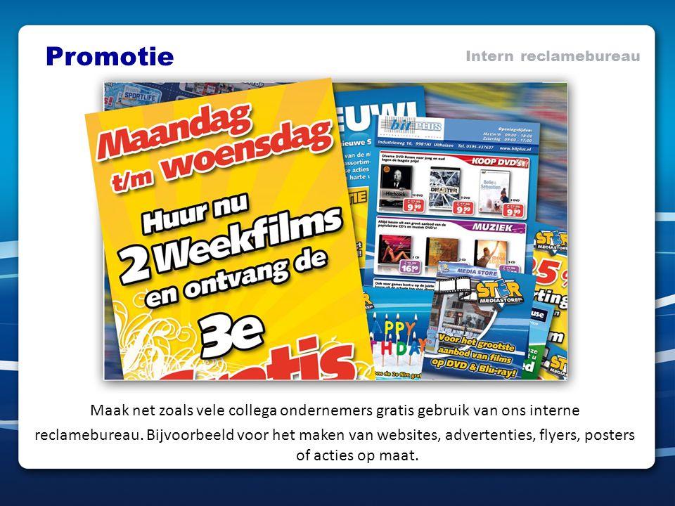 Promotie Intern reclamebureau Maak net zoals vele collega ondernemers gratis gebruik van ons interne reclamebureau. Bijvoorbeeld voor het maken van we