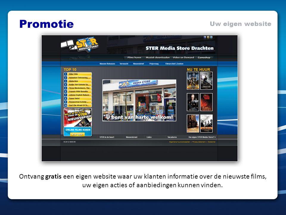 Promotie Uw eigen website Ontvang gratis een eigen website waar uw klanten informatie over de nieuwste films, uw eigen acties of aanbiedingen kunnen v