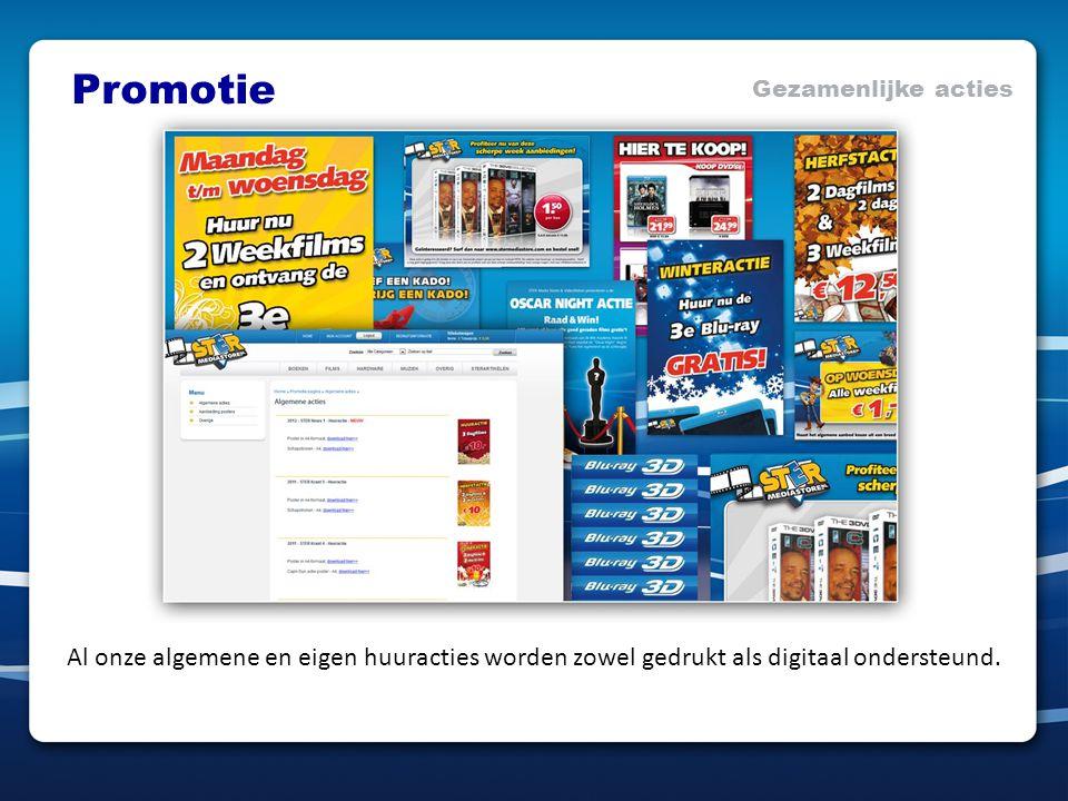 Promotie Gezamenlijke acties Al onze algemene en eigen huuracties worden zowel gedrukt als digitaal ondersteund.