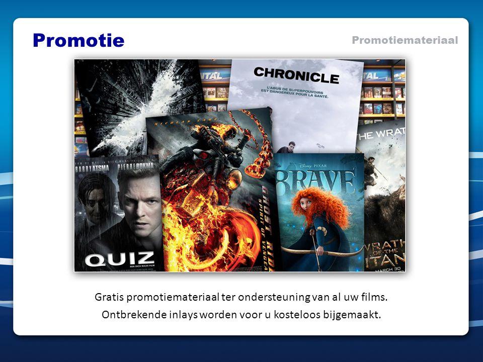 Promotie Promotiemateriaal Gratis promotiemateriaal ter ondersteuning van al uw films. Ontbrekende inlays worden voor u kosteloos bijgemaakt.