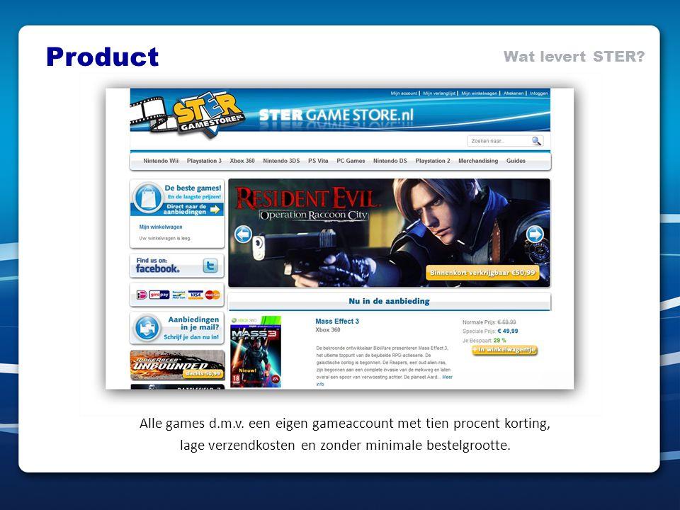 Alle games d.m.v. een eigen gameaccount met tien procent korting, lage verzendkosten en zonder minimale bestelgrootte. Product Wat levert STER?