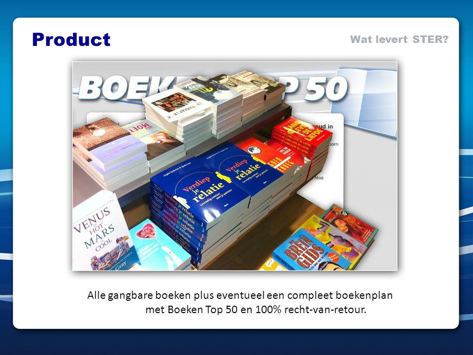 Alle gangbare boeken plus eventueel een compleet boekenplan met Boeken Top 50 en 100% recht-van-retour. Product Wat levert STER?