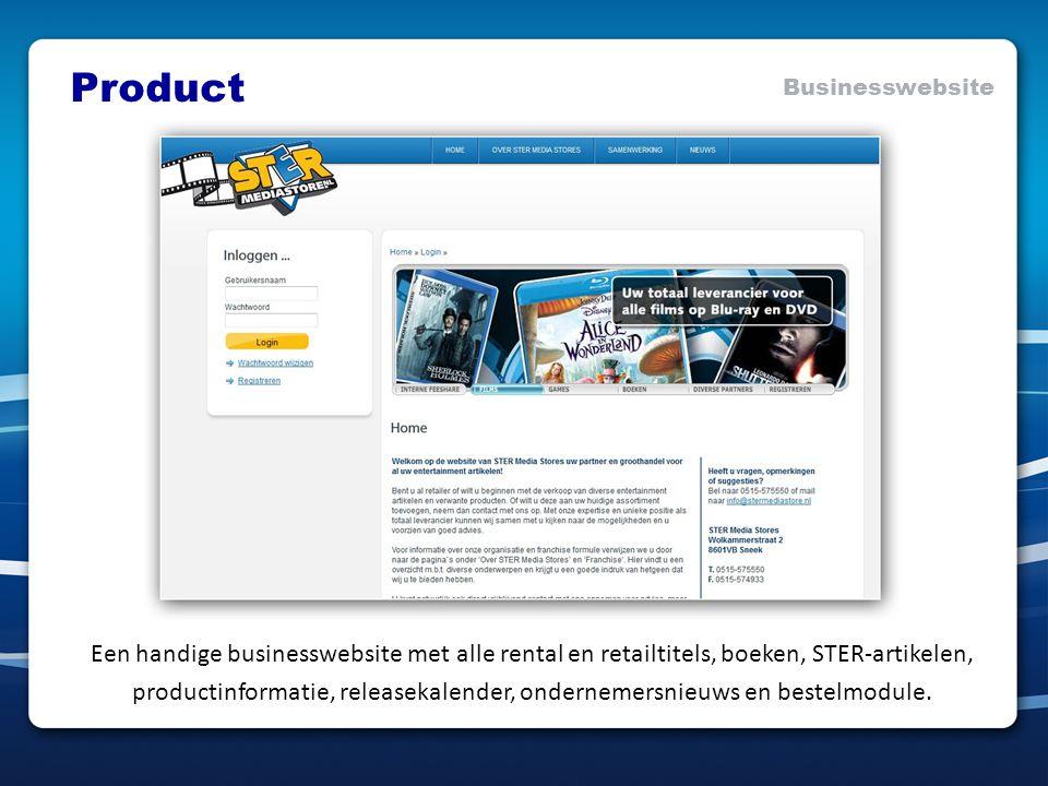 Een handige businesswebsite met alle rental en retailtitels, boeken, STER-artikelen, productinformatie, releasekalender, ondernemersnieuws en bestelmodule.