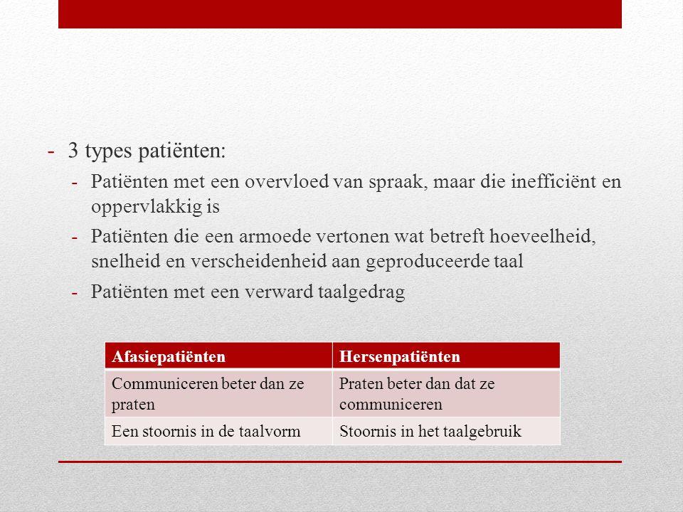 -3 types patiënten: -Patiënten met een overvloed van spraak, maar die inefficiënt en oppervlakkig is -Patiënten die een armoede vertonen wat betreft h