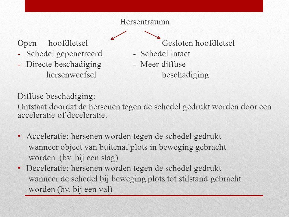 Hersentrauma Open hoofdletselGesloten hoofdletsel -Schedel gepenetreerd- Schedel intact -Directe beschadiging- Meer diffuse hersenweefselbeschadiging