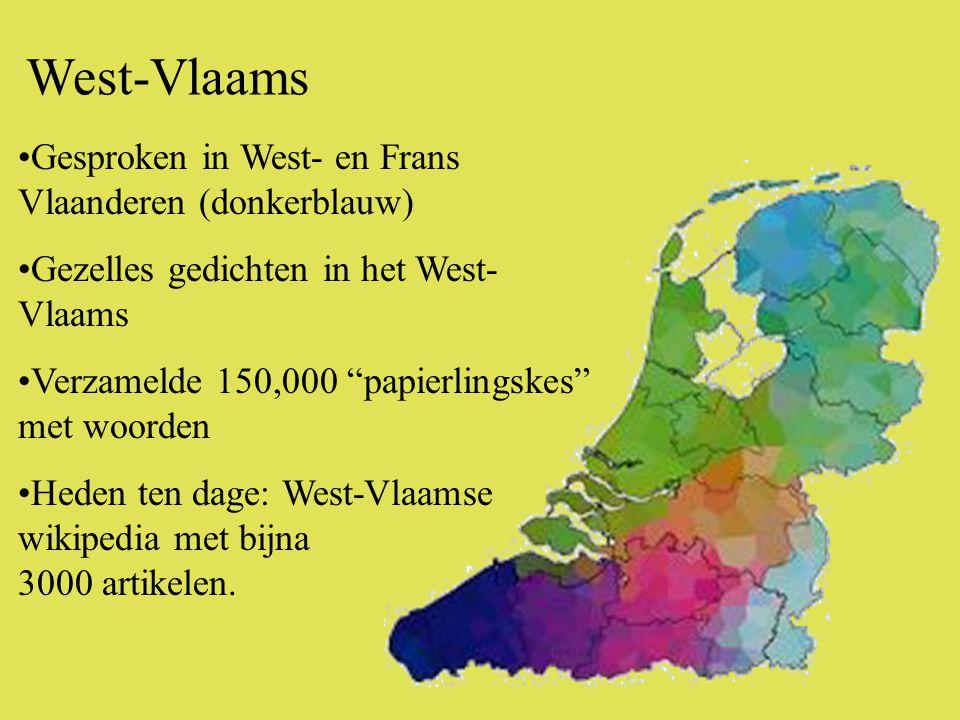 •Gesproken in West- en Frans Vlaanderen (donkerblauw) •Gezelles gedichten in het West- Vlaams •Verzamelde 150,000 papierlingskes met woorden •Heden ten dage: West-Vlaamse wikipedia met bijna 3000 artikelen.