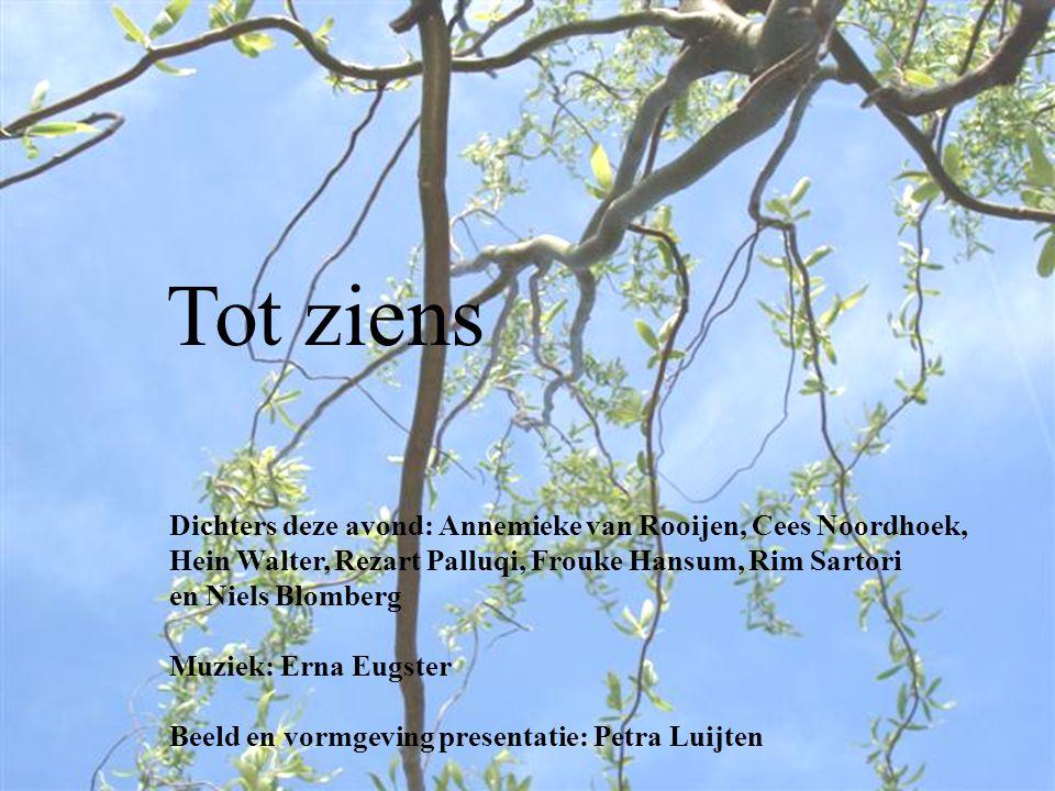 Dichters deze avond: Annemieke van Rooijen, Cees Noordhoek, Hein Walter, Rezart Palluqi, Frouke Hansum, Rim Sartori en Niels Blomberg Muziek: Erna Eug