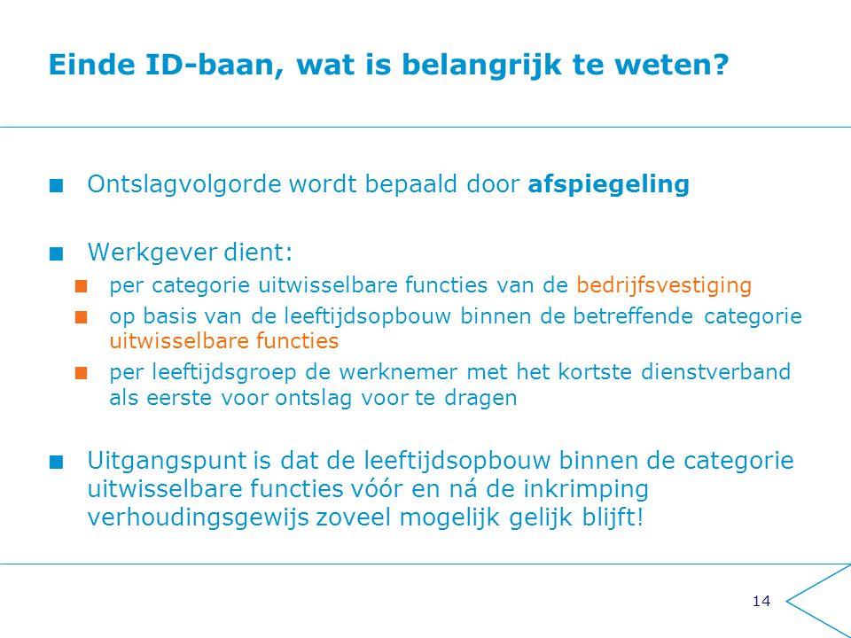14 Einde ID-baan, wat is belangrijk te weten? Ontslagvolgorde wordt bepaald door afspiegeling Werkgever dient: per categorie uitwisselbare functies va