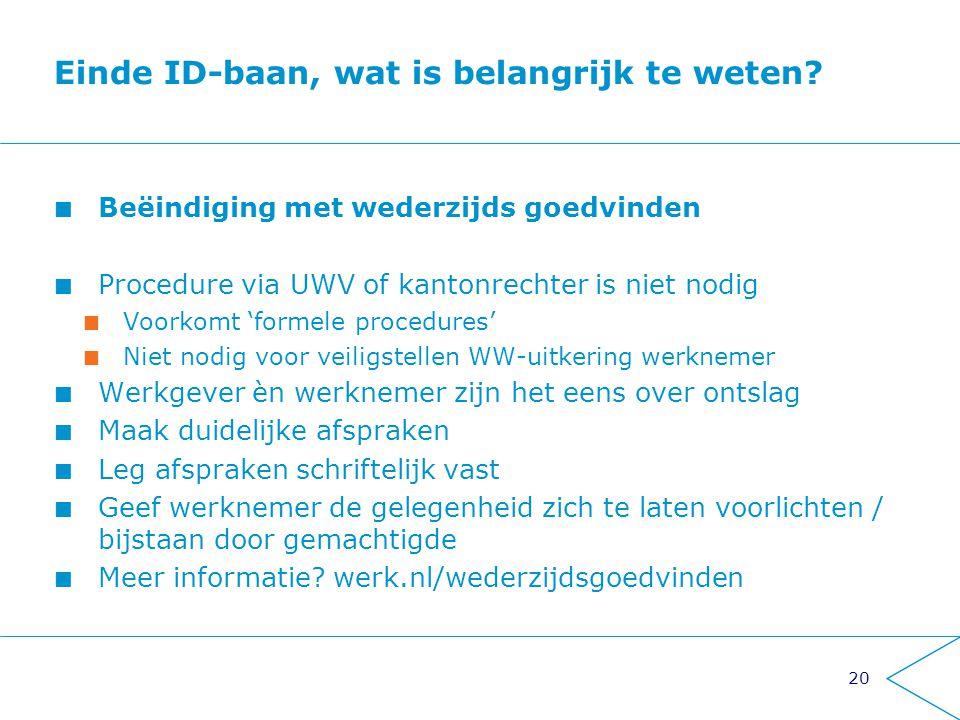 20 Einde ID-baan, wat is belangrijk te weten? Beëindiging met wederzijds goedvinden Procedure via UWV of kantonrechter is niet nodig Voorkomt 'formele
