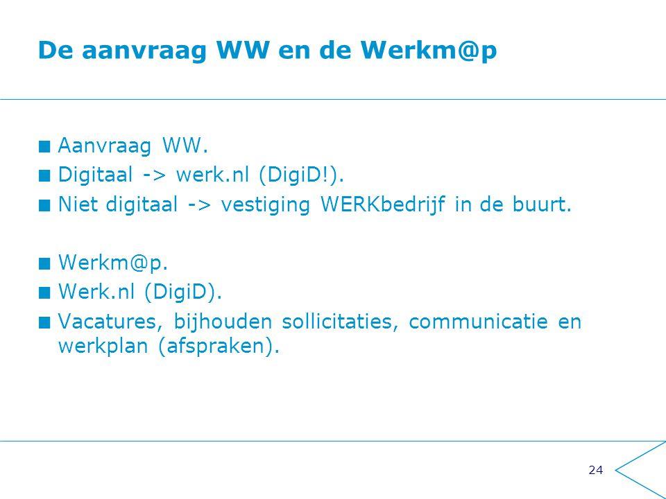 24 De aanvraag WW en de Werkm@p Aanvraag WW. Digitaal -> werk.nl (DigiD!). Niet digitaal -> vestiging WERKbedrijf in de buurt. Werkm@p. Werk.nl (DigiD