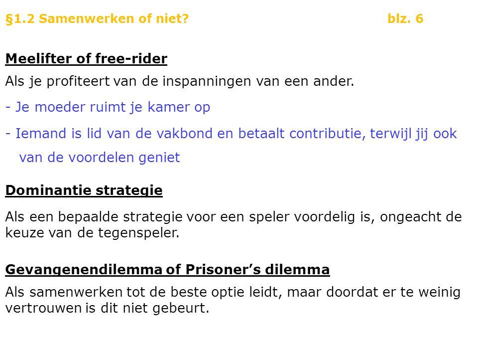 Voorbeeld 1 Baantjers gevangenendilemma (versie I) De Cock en Vledder zijn twee politieagenten en hebben twee verdachten aangehouden.