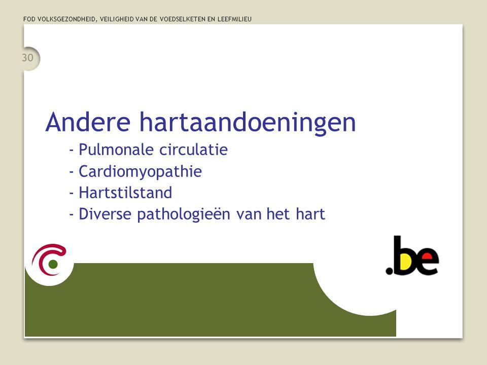 FOD VOLKSGEZONDHEID, VEILIGHEID VAN DE VOEDSELKETEN EN LEEFMILIEU 30 Andere hartaandoeningen -Pulmonale circulatie -Cardiomyopathie -Hartstilstand -Diverse pathologieën van het hart