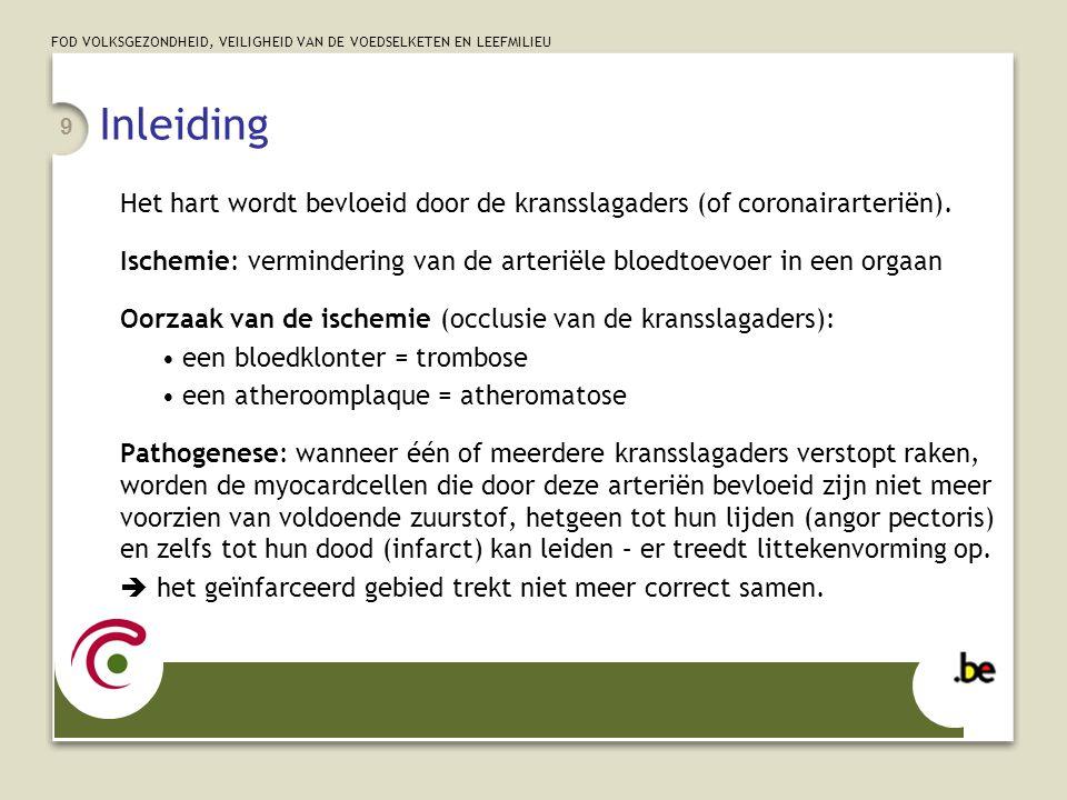 FOD VOLKSGEZONDHEID, VEILIGHEID VAN DE VOEDSELKETEN EN LEEFMILIEU 10 Myocardinfarct (1/2) Acuut myocardinfarct (AMI): categorie 410 •4 de digit: lokalisatie zoals gedocumenteerd in het patiëntendossier •410.7x = AMI zonder ST-elevatie = NSTEMI = subendocardiaal infarct (endocard = inwendig deel van het myocard in contact met bloed van de hartholten) •410.9x: te vermijden.