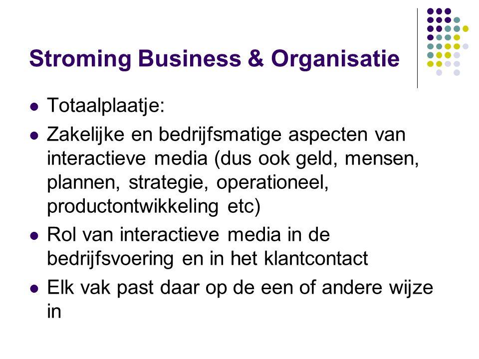 Stroming Business & Organisatie  Totaalplaatje:  Zakelijke en bedrijfsmatige aspecten van interactieve media (dus ook geld, mensen, plannen, strateg