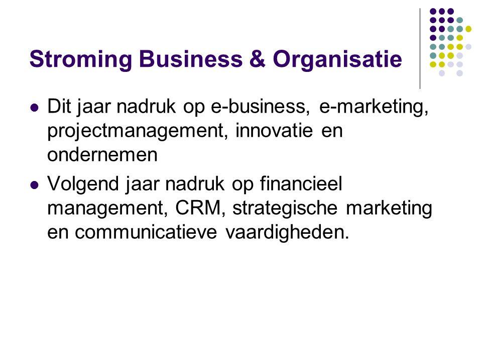 Stroming Business & Organisatie  Dit jaar nadruk op e-business, e-marketing, projectmanagement, innovatie en ondernemen  Volgend jaar nadruk op fina