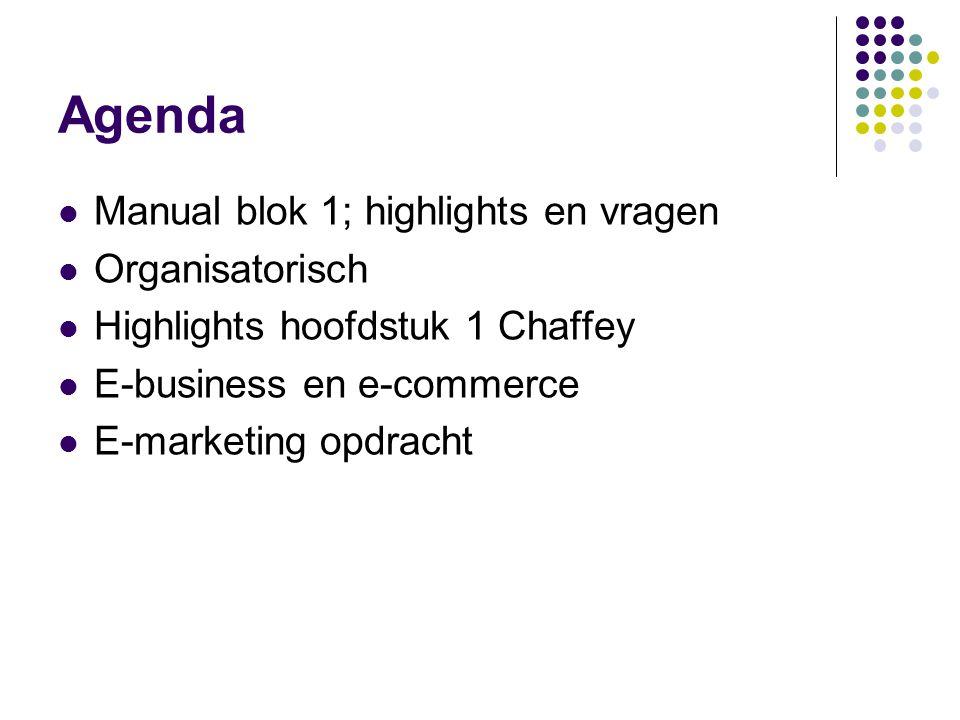 Agenda  Manual blok 1; highlights en vragen  Organisatorisch  Highlights hoofdstuk 1 Chaffey  E-business en e-commerce  E-marketing opdracht