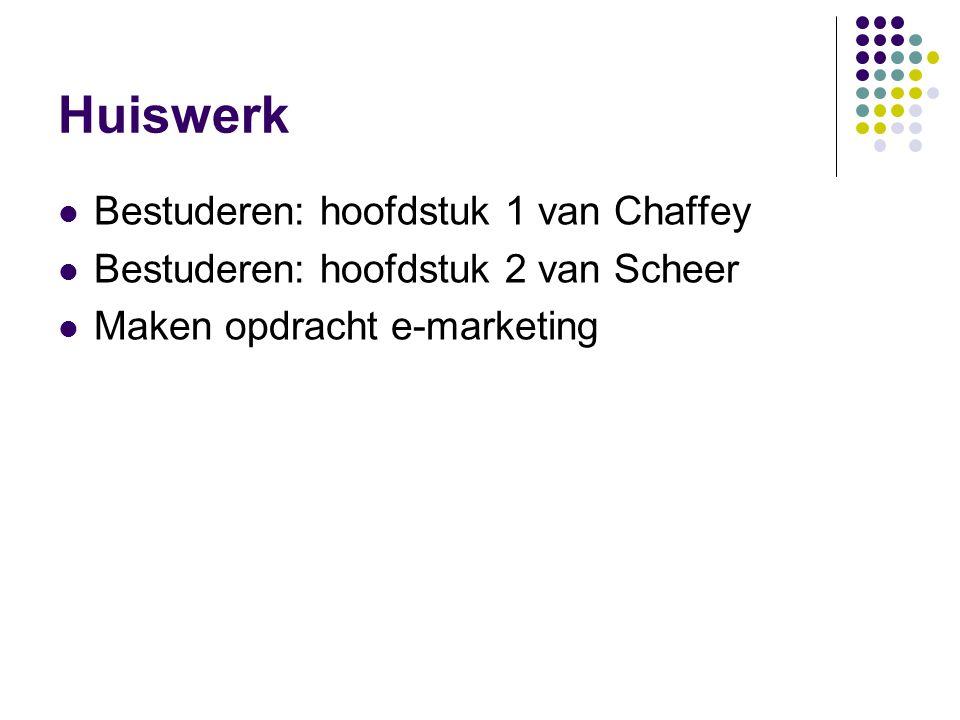 Huiswerk  Bestuderen: hoofdstuk 1 van Chaffey  Bestuderen: hoofdstuk 2 van Scheer  Maken opdracht e-marketing