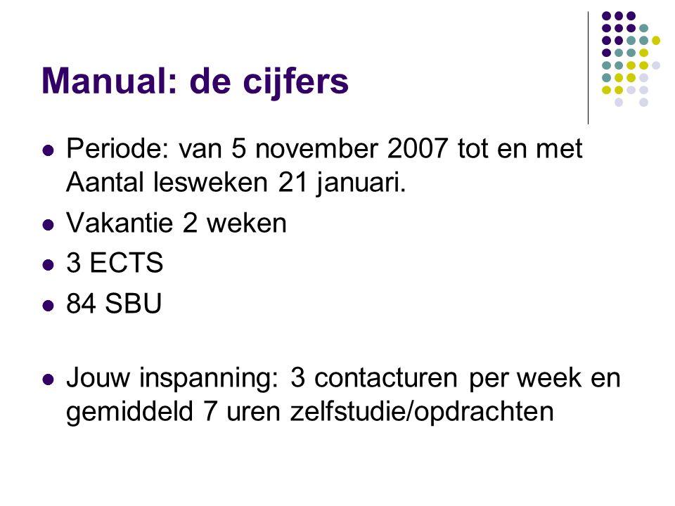 Manual: de cijfers  Periode: van 5 november 2007 tot en met Aantal lesweken 21 januari.  Vakantie 2 weken  3 ECTS  84 SBU  Jouw inspanning: 3 con