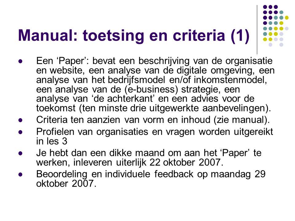 Manual: toetsing en criteria (1)  Een 'Paper': bevat een beschrijving van de organisatie en website, een analyse van de digitale omgeving, een analys