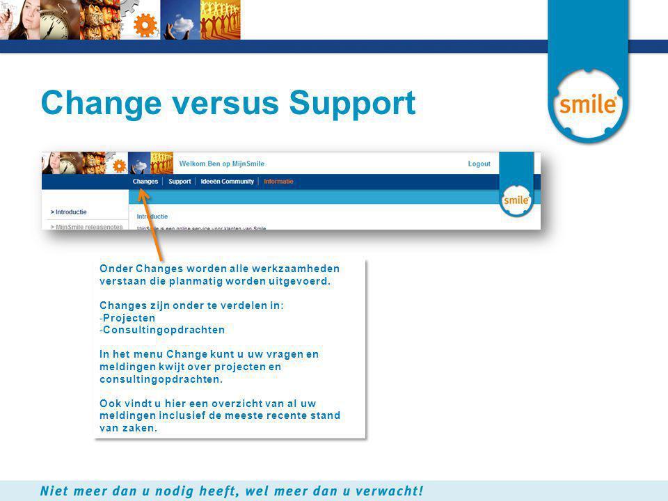 Change versus Support Onder Changes worden alle werkzaamheden verstaan die planmatig worden uitgevoerd. Changes zijn onder te verdelen in: -Projecten