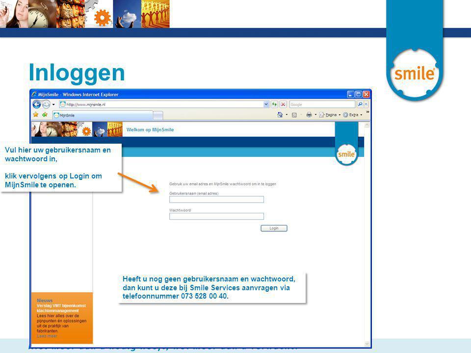 Inloggen Vul hier uw gebruikersnaam en wachtwoord in, klik vervolgens op Login om MijnSmile te openen. Vul hier uw gebruikersnaam en wachtwoord in, kl