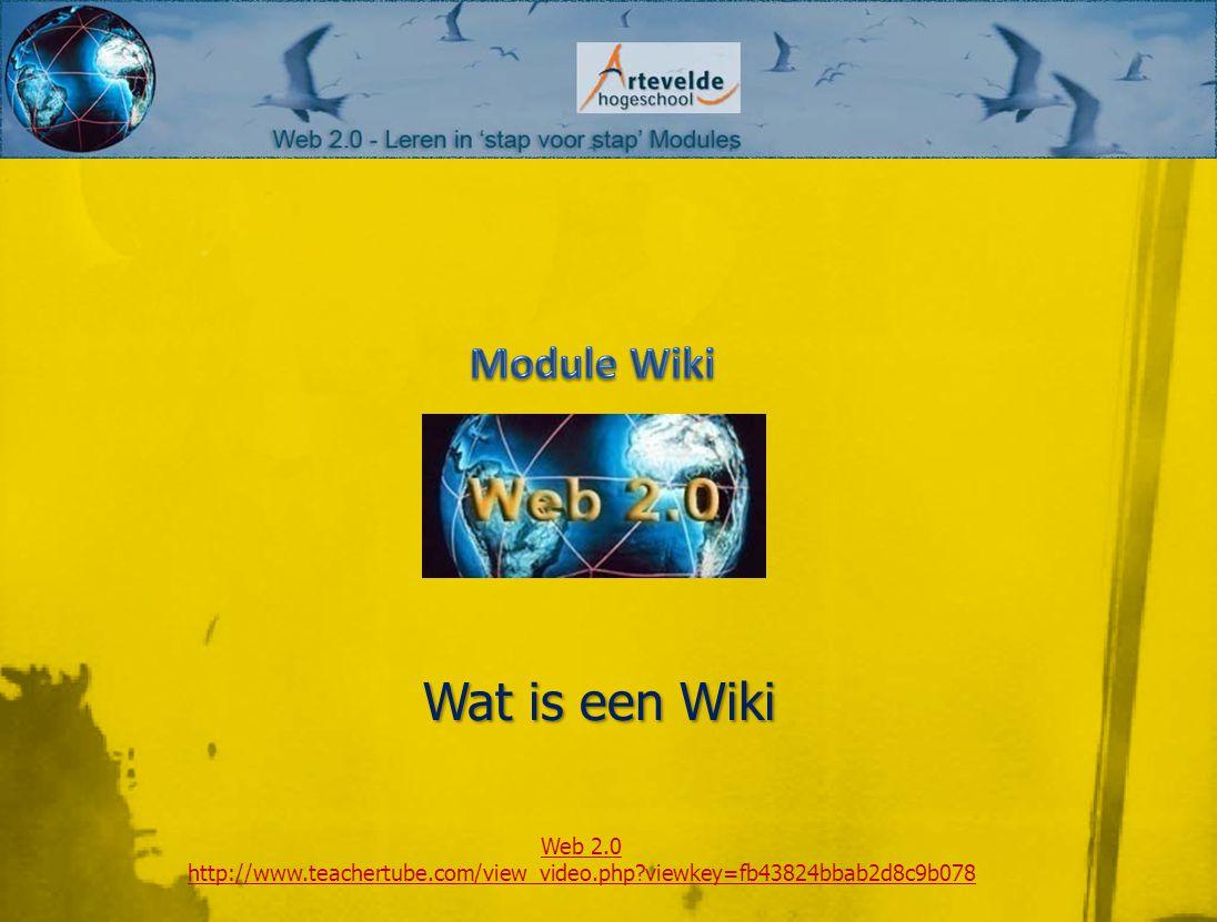 Wat is een Wiki Web 2.0 http://www.teachertube.com/view_video.php viewkey=fb43824bbab2d8c9b078