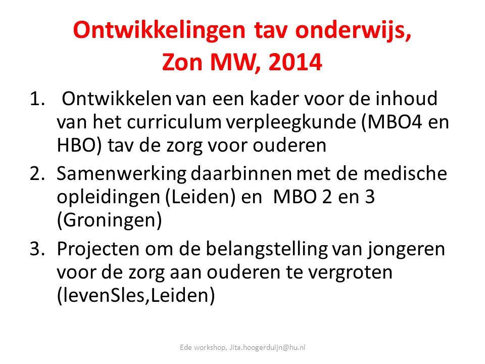 Ontwikkelingen tav onderwijs, Zon MW, 2014 1. Ontwikkelen van een kader voor de inhoud van het curriculum verpleegkunde (MBO4 en HBO) tav de zorg voor