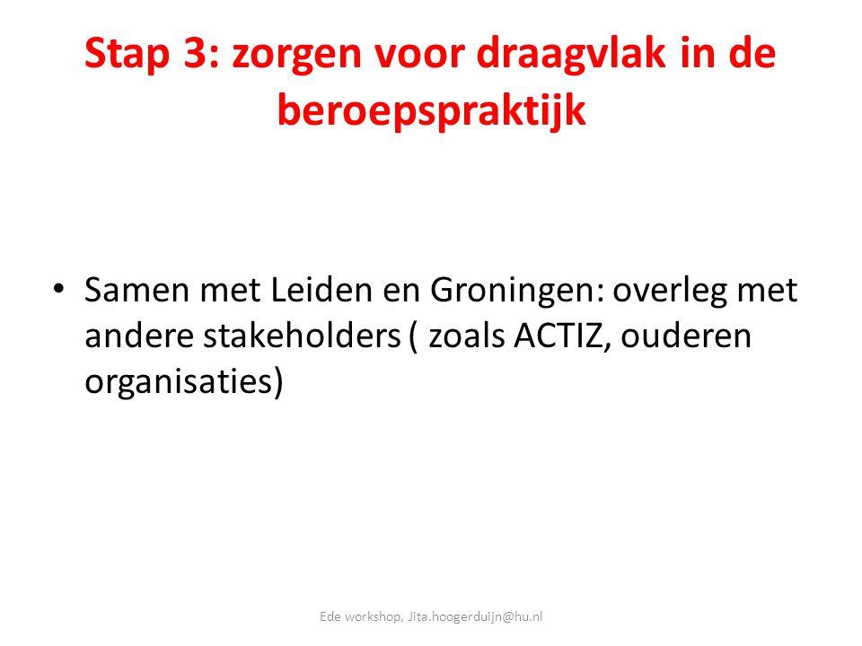 Stap 3: zorgen voor draagvlak in de beroepspraktijk • Samen met Leiden en Groningen: overleg met andere stakeholders ( zoals ACTIZ, ouderen organisati