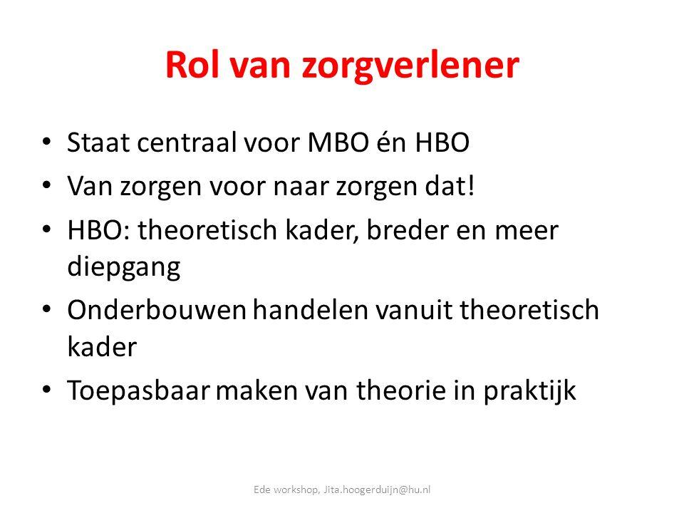 Rol van zorgverlener • Staat centraal voor MBO én HBO • Van zorgen voor naar zorgen dat! • HBO: theoretisch kader, breder en meer diepgang • Onderbouw