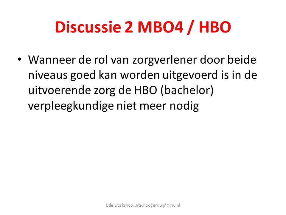 Discussie 2 MBO4 / HBO • Wanneer de rol van zorgverlener door beide niveaus goed kan worden uitgevoerd is in de uitvoerende zorg de HBO (bachelor) ver