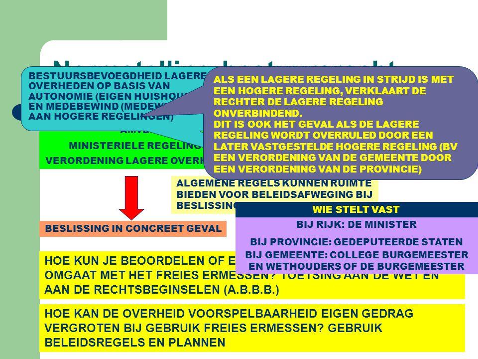 Normstelling bestuursrecht FORMELE WET AMvB MINISTERIELE REGELING VERORDENING LAGERE OVERHEID ALGEMENE REGELS (= WETTEN IN MATERIELE ZIN OF ALGEMEEN VERBINDENDE VOORSCHRIFTEN (AVV)) BESLISSING IN CONCREET GEVAL ALGEMENE REGELS KUNNEN RUIMTE BIEDEN VOOR BELEIDSAFWEGING BIJ BESLISSING: FREIES ERMESSEN BESCHIKKING HOE KUN JE BEOORDELEN OF EEN BESTUURSORGAAN NETJES OMGAAT MET HET FREIES ERMESSEN.