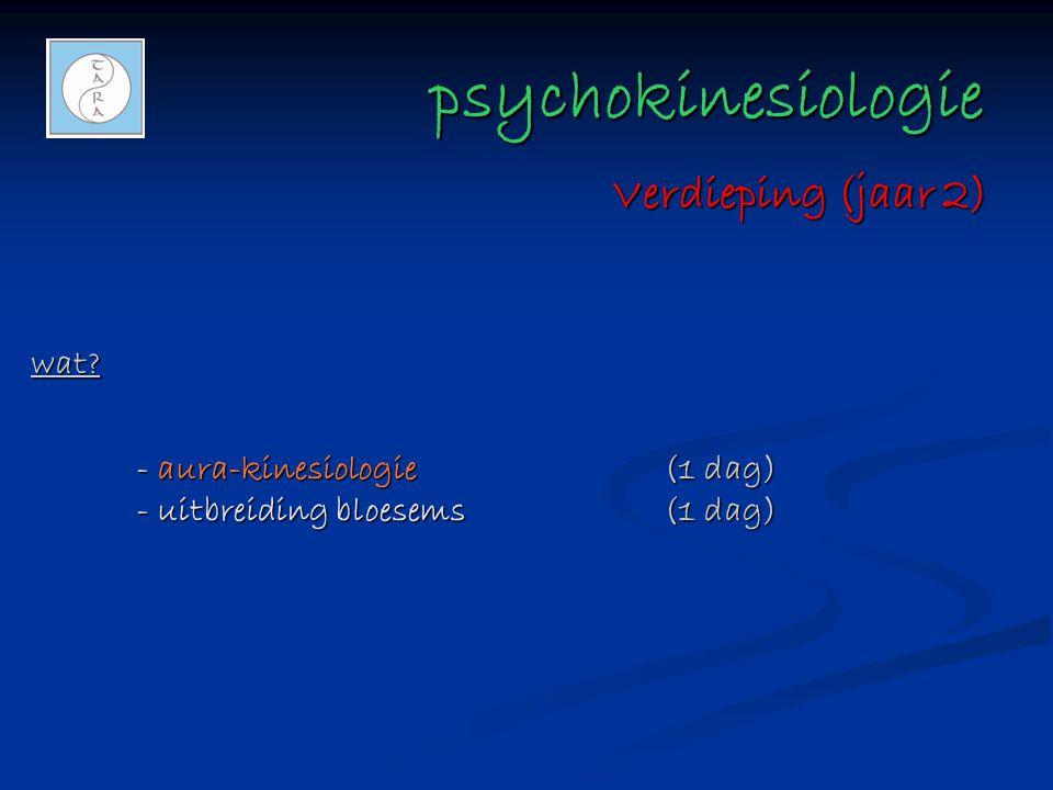 psychokinesiologie psychokinesiologie wat? - aura-kinesiologie(1 dag) - uitbreiding bloesems(1 dag) Verdieping (jaar 2)
