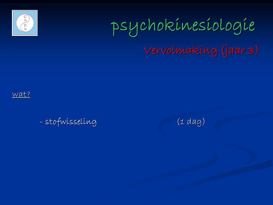psychokinesiologie psychokinesiologie wat? - stofwisseling(1 dag) Vervolmaking (jaar 3)