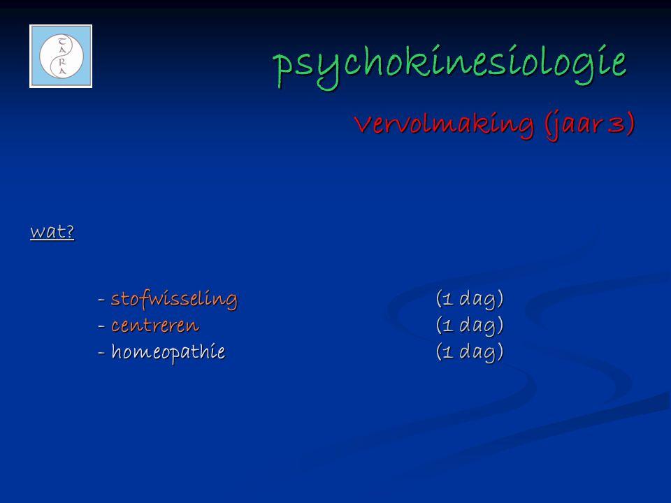 psychokinesiologie psychokinesiologie wat? - stofwisseling(1 dag) - centreren(1 dag) - homeopathie(1 dag) Vervolmaking (jaar 3)
