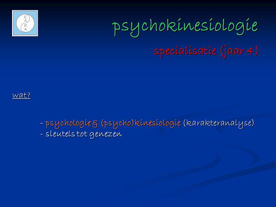 psychokinesiologie psychokinesiologie wat? - psychologie & (psycho)kinesiologie (karakteranalyse) - sleutels tot genezen specialisatie (jaar 4)