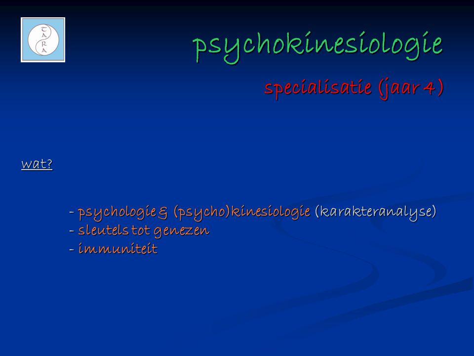 psychokinesiologie psychokinesiologie wat? - psychologie & (psycho)kinesiologie (karakteranalyse) - sleutels tot genezen - immuniteit specialisatie (j