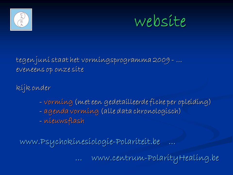 website website tegen juni staat het vormingsprogramma 2009 - … eveneens op onze site kijk onder - vorming (met een gedetailleerde fiche per opleiding