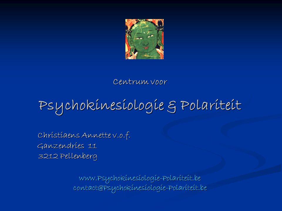Centrum voor Psychokinesiologie & Polariteit Christiaens Annette v.o.f. Ganzendries 11 3212 Pellenberg Christiaens Annette v.o.f. Ganzendries 11 3212