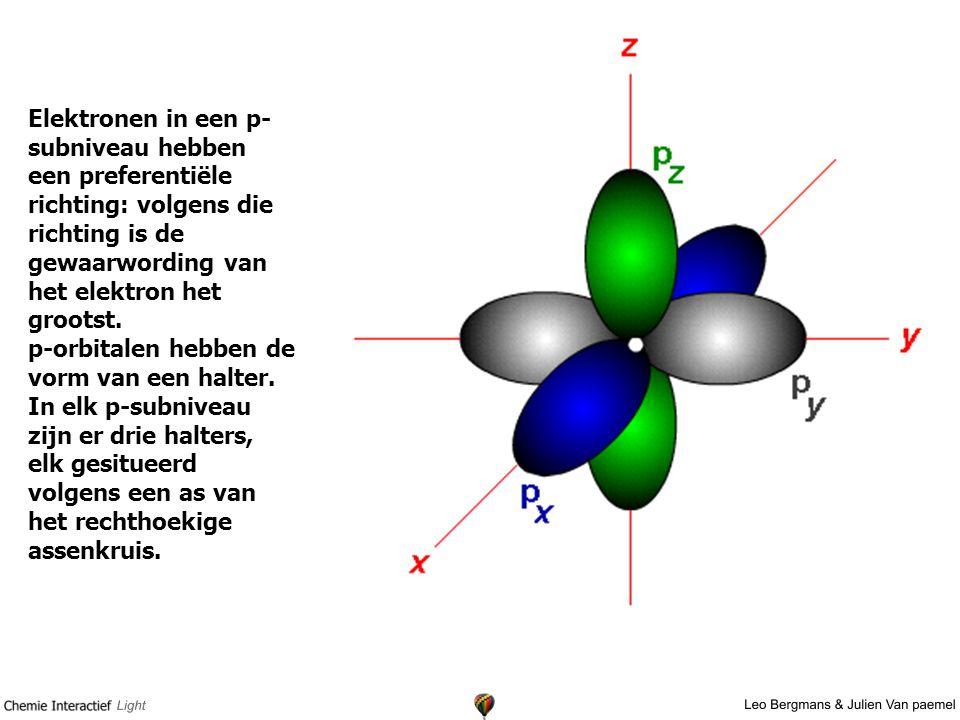Elektronen in een p- subniveau hebben een preferentiële richting: volgens die richting is de gewaarwording van het elektron het grootst.