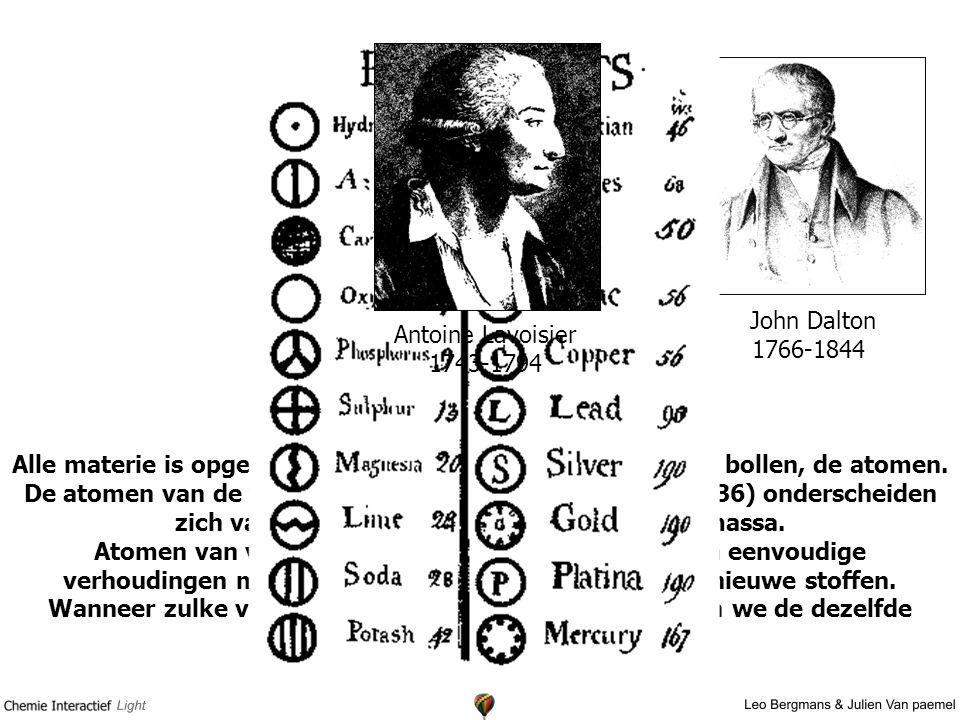 Atoomtheorie van Dalton Alle materie is opgebouwd uit massieve niet meer te delen bollen, de atomen.