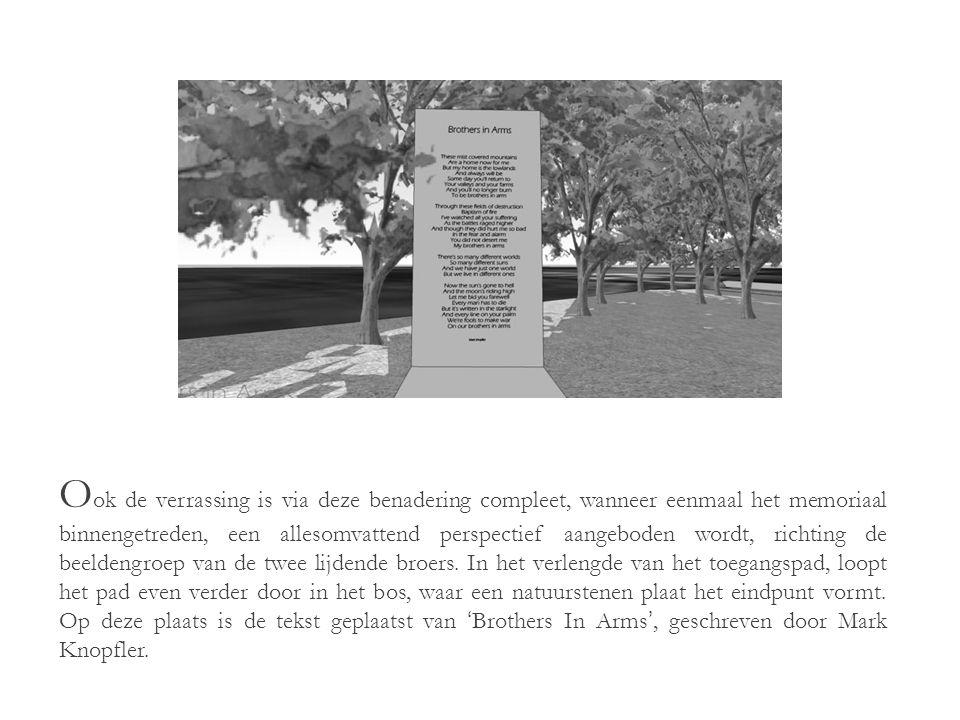 H et memoriaal wordt zijdelings betreden via een pad dat de bezoekers van de parkeergelegenheid naar het memoriaal leidt.