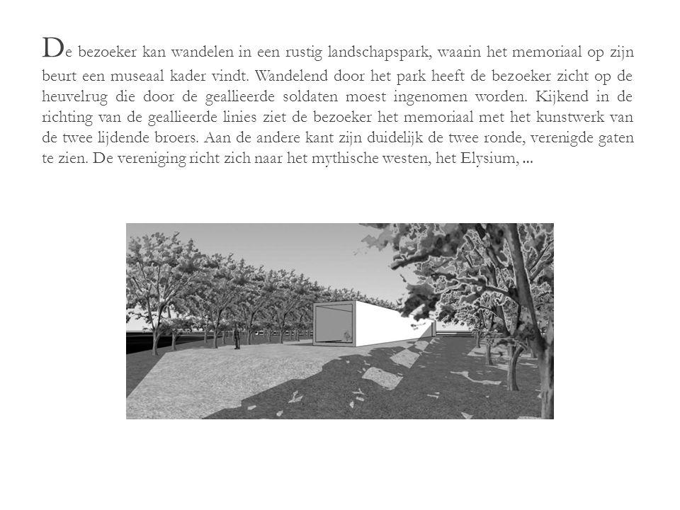 D e bezoeker kan wandelen in een rustig landschapspark, waarin het memoriaal op zijn beurt een museaal kader vindt.