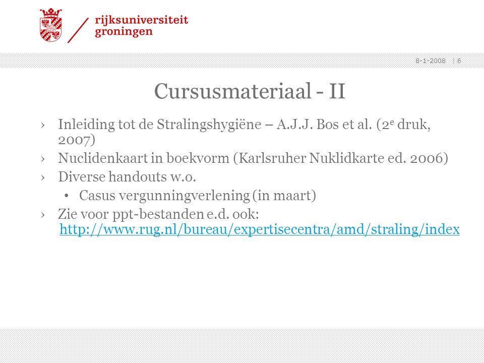 8-1-2008 | 6 Cursusmateriaal - II ›Inleiding tot de Stralingshygiëne – A.J.J. Bos et al. (2 e druk, 2007) ›Nuclidenkaart in boekvorm (Karlsruher Nukli